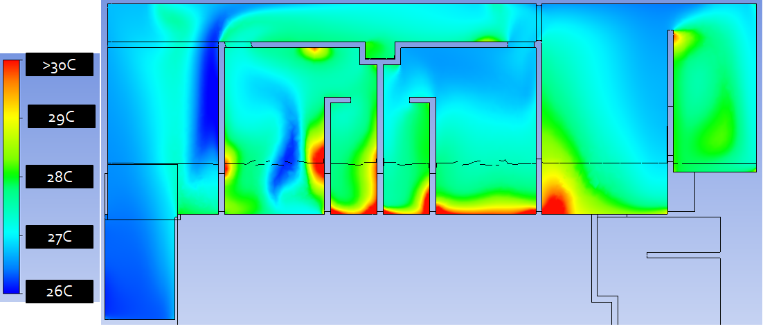 Residential natural ventilation temperature distribution CFD - Optimized 1st floor