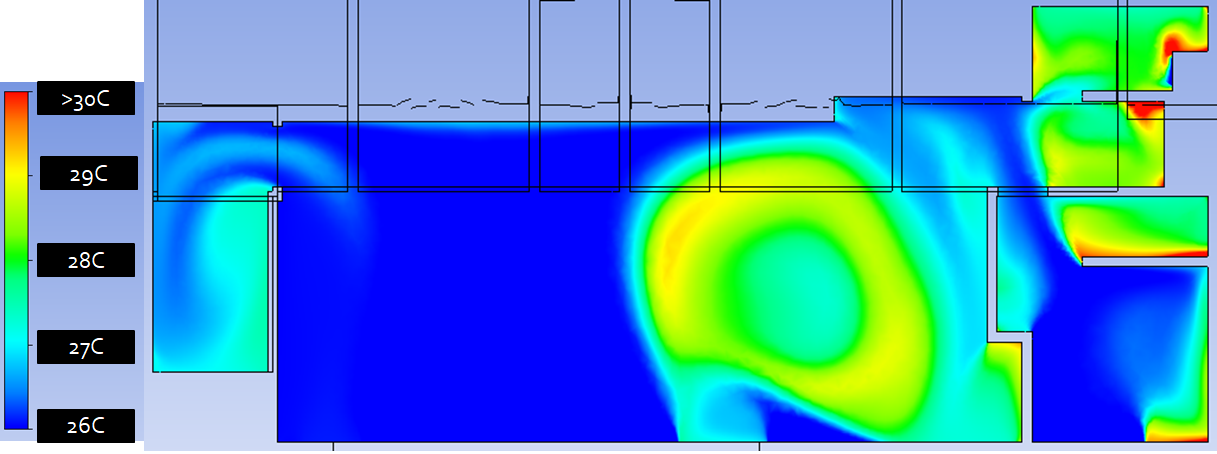 Residential natural ventilation temperature distribution CFD - Optimized Ground floor